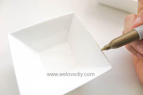 DIY DAISO 大創瓷器彩繪金色首飾鑰匙收納碟 (2)