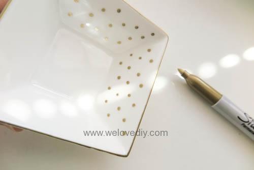DIY DAISO 大創瓷器彩繪金色首飾鑰匙收納碟 (4)