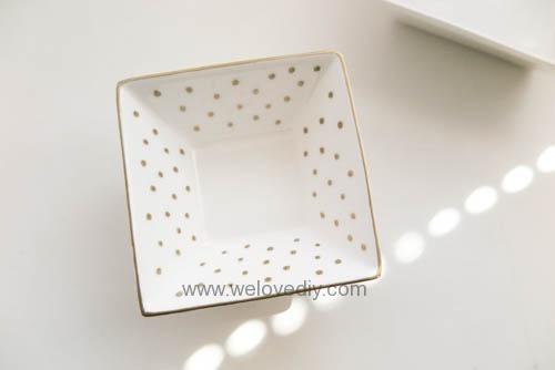 DIY DAISO 大創瓷器彩繪金色首飾鑰匙收納碟 (5)