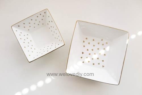 DIY DAISO 大創瓷器彩繪金色首飾鑰匙收納碟 (6)
