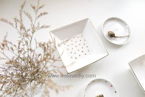DIY DAISO 大創瓷器彩繪金色首飾鑰匙收納碟 (8)