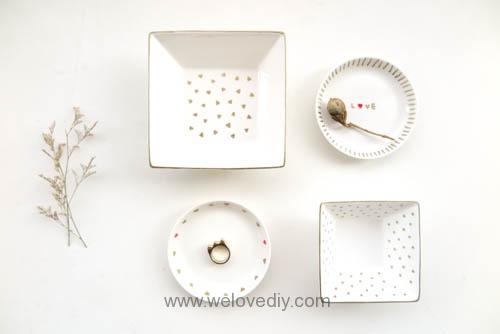 DIY DAISO Sharpie Trinket Dish 大創瓷器彩繪金色首飾鑰匙收納碟 (15)