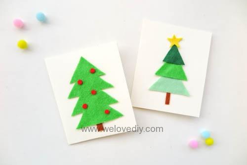 DIY Felt Christmas Cards 聖誕節親子手作毛氈不織布聖誕樹手工卡片 (10)