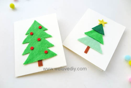 DIY Felt Christmas Cards 聖誕節親子手作毛氈不織布聖誕樹手工卡片 (11)