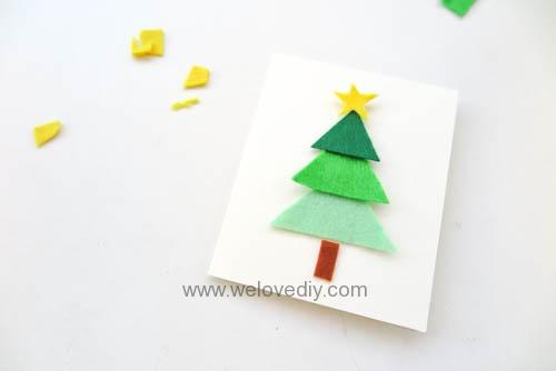 DIY Felt Christmas Cards 聖誕節親子手作毛氈不織布聖誕樹手工卡片 (5)