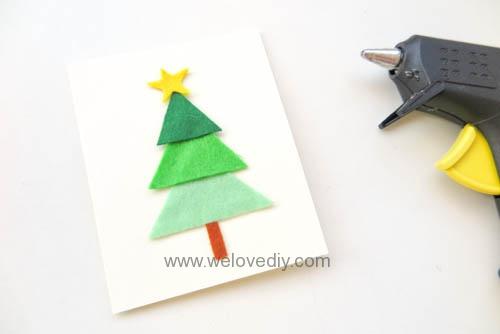 DIY Felt Christmas Cards 聖誕節親子手作毛氈不織布聖誕樹手工卡片 (9)
