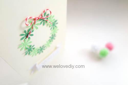 DIY Handmade Christmas Wreath Card 聖誕節花圈造型打洞器剪紙卡片手作耶誕賀卡 (10)