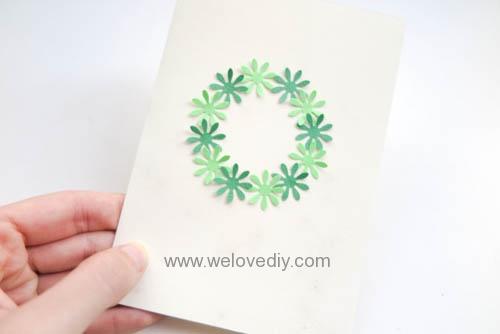 DIY Handmade Christmas Wreath Card 聖誕節花圈造型打洞器剪紙卡片手作耶誕賀卡 (5)