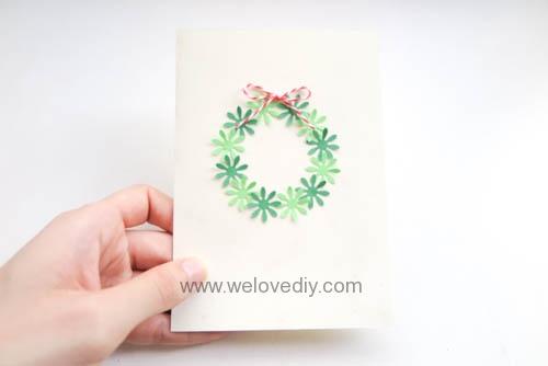 DIY Handmade Christmas Wreath Card 聖誕節花圈造型打洞器剪紙卡片手作耶誕賀卡 (7)