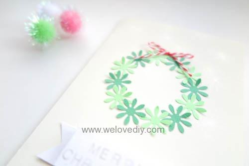 DIY Handmade Christmas Wreath Card 聖誕節花圈造型打洞器剪紙卡片手作耶誕賀卡 (9)