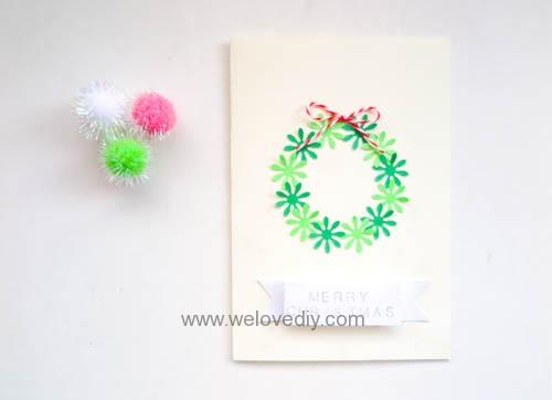DIY Handmade Christmas Wreath Card 聖誕節花圈造型打洞器剪紙卡片手作耶誕賀卡