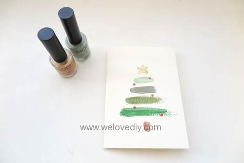 DIY LAST MINUTE Christmas Card 聖誕節手作指甲油手工耶誕賀卡 (4)