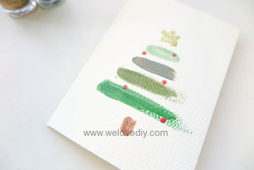 DIY LAST MINUTE Christmas Card 聖誕節手作指甲油手工耶誕賀卡 (5)
