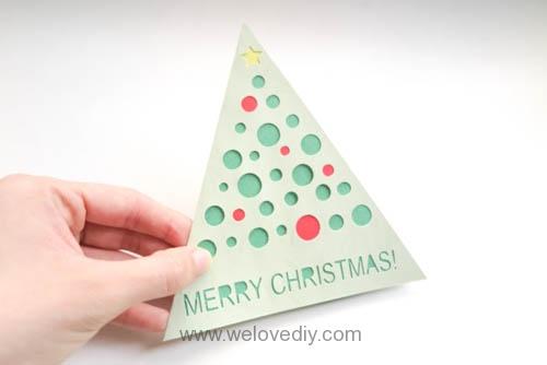 iCRAFT Christmas tree cutout card 手作拼貼切割機聖誕節聖誕樹三角形卡片