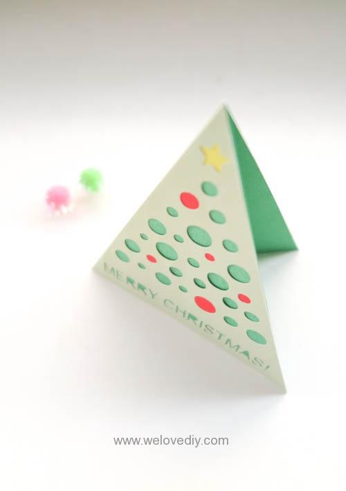 iCRAFT Christmas tree cutout card 手作拼貼切割機聖誕節聖誕樹造型三角形卡片 (5)