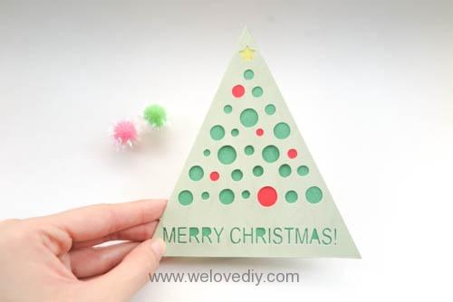 iCRAFT Christmas tree cutout card 手作拼貼切割機聖誕節聖誕樹造型三角形站立卡片