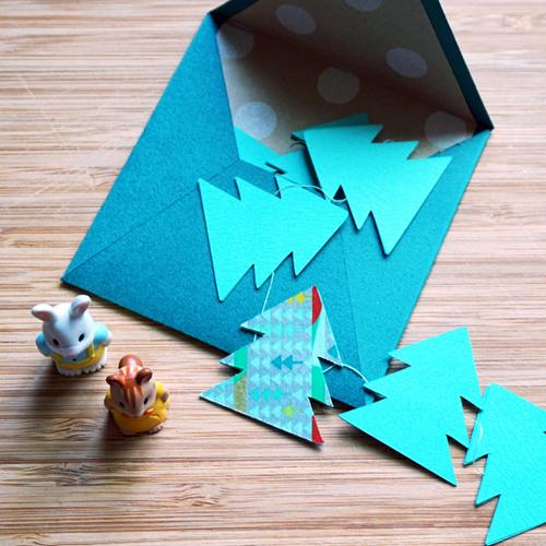 DIY 聖誕節可愛聖誕樹串旗卡片手作信封 CHUAN HANDMADE (1)
