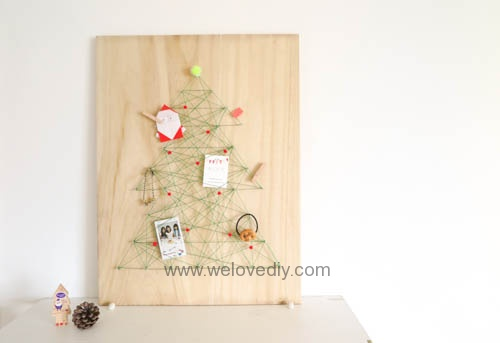 DIY 聖誕節特力屋聖誕樹繩線藝術裝飾備忘板