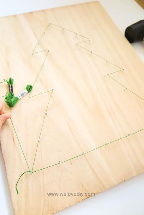 DIY Christmas Tree String Art 特力屋聖誕樹繩線藝術裝飾備忘板 (10)