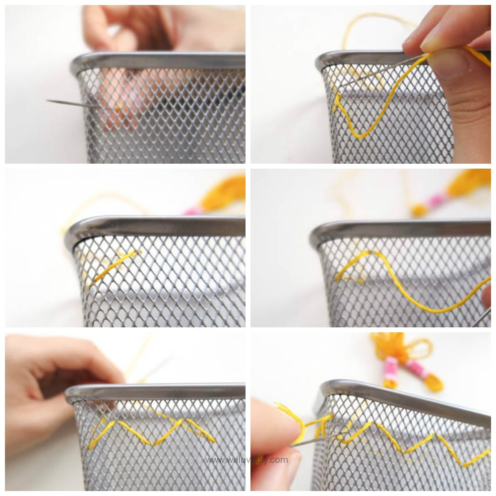 DIY IKEA Hack DOKUMENT 筆筒繡線手作刺繡裝飾 (13)