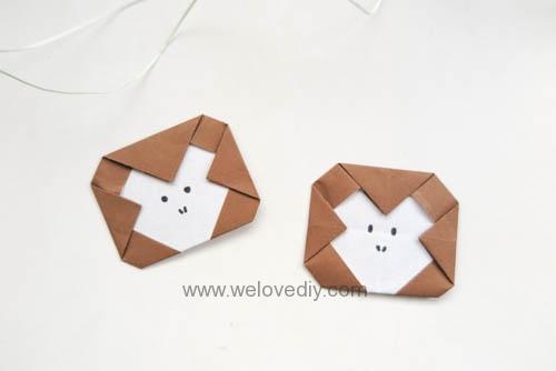 DIY 新年春節猴年小猴子摺紙親子手作教學 (8)