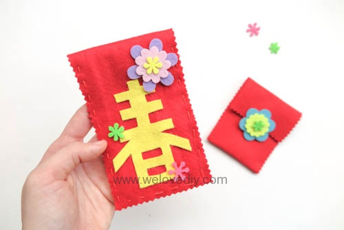 DIY 春節親子手作不織布紅包袋 DAISO 大創材料