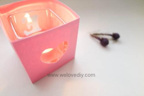DIY iCRAFT 手作拼貼切割機情人節 LOVE 愛心紙做燈罩 (7)