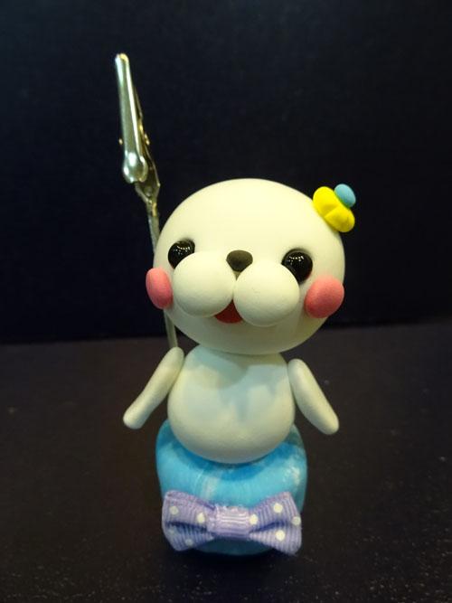 DIY 小海獅黏土留言夾 胖蝴蝶的手作花園 (1)