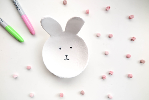 DIY 復活節紙黏土親子手作兔子小物收納置物盤勞作 (1)