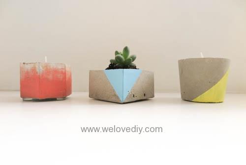 DIY 手作水泥容器燭台盆栽工業風家居擺飾 (1)