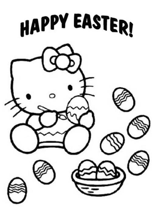 Hello Kitty 復活節小朋友親子著色畫