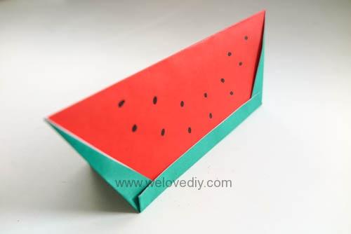 DIY 夏天水果西瓜簡易摺紙親子手作教學 (9)