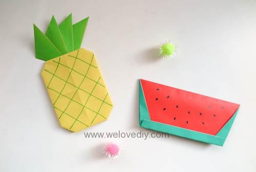 DIY 夏天水果西瓜鳳梨簡易摺紙親子手作教學