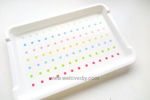 DIY 手作大創 DAISO 修補貼紙點點裝飾置物盤 (5)
