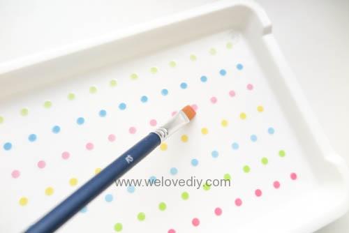DIY 手作大創 DAISO 修補貼紙點點裝飾置物盤 (7)