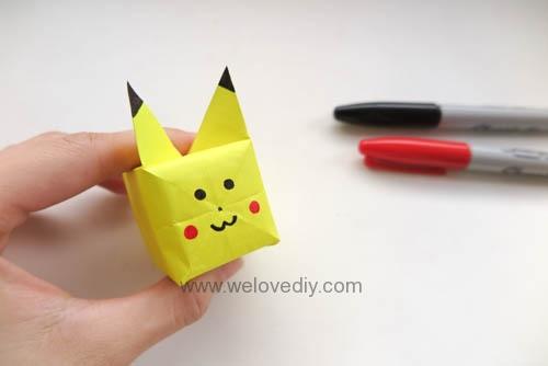 DIY Pokemon Go 精靈寶可夢神奇寶貝立體皮卡丘摺紙教學 (14)