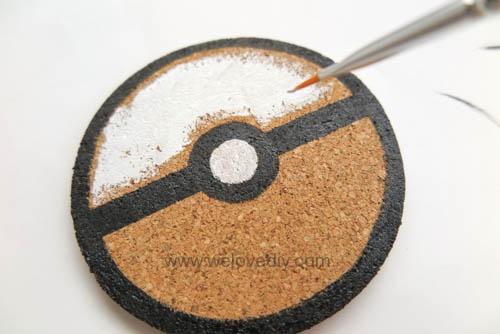 DIY Pokemon Go poke ball cork coaster 寶可夢神奇寶貝精靈球手作杯墊 (7)