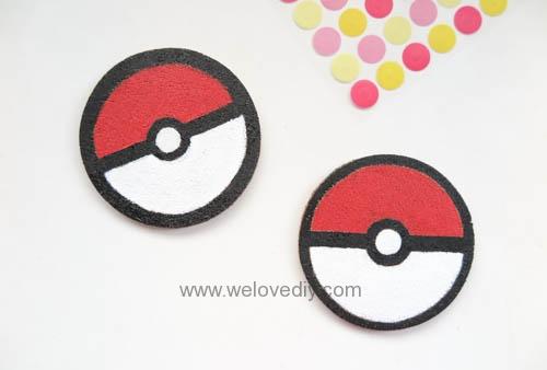 DIY Pokemon Go poke ball cork coaster 寶可夢神奇寶貝精靈球手作杯墊 (9)
