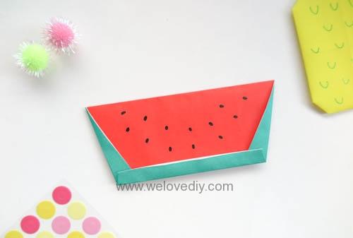 DIY origami watermelon 夏天水果西瓜摺紙書籤教學